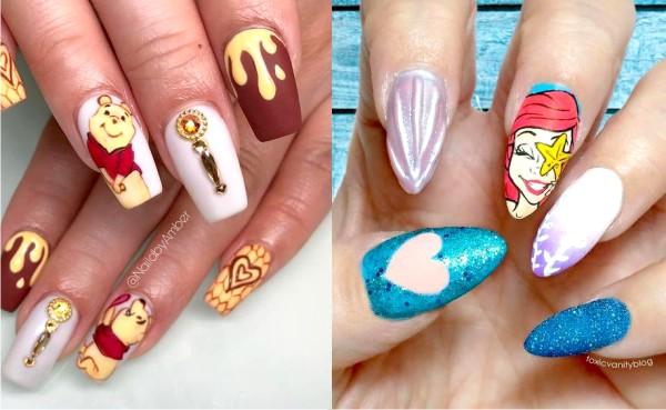 маникюр, Instagram, рисунки из мультфильмов на ногтях