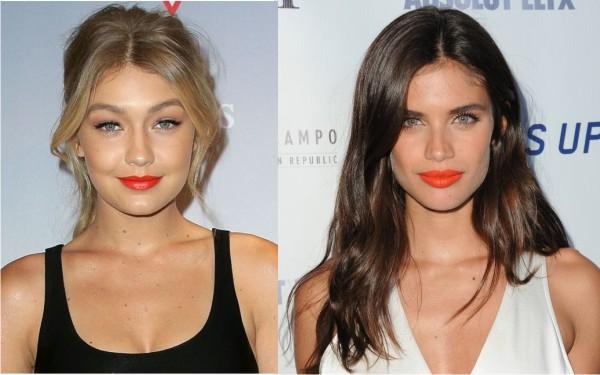 макияж губ, оранжевая помада