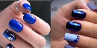 модный маникюр, синий маникюр, лак, ногти