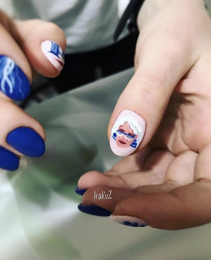 рисунки, ногти, синий, маникюр
