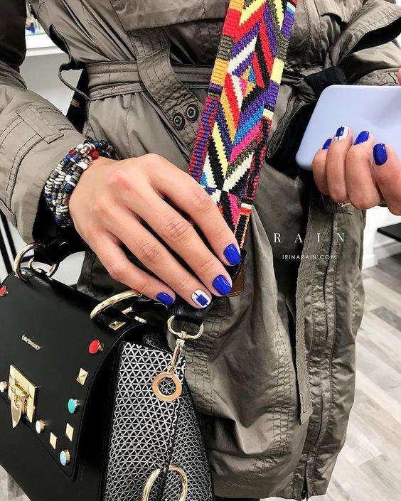 геометрический маникюр, синий, цвет, ногти