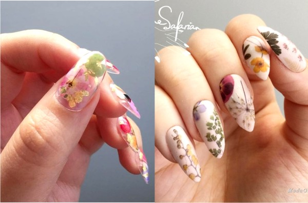 маникюр с живыми цветами